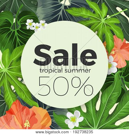 Summer sale on circle, background with tropical Hibiscus and Plumeria plants. Vector promo card offering seasonal great price reduction