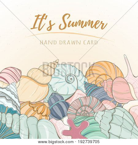Summer paradise holiday marine card. Seashell illustration can be used for invitation, postcard, menu, flyer or website Hand draw underwater tropical objects with sea shells and sea star.