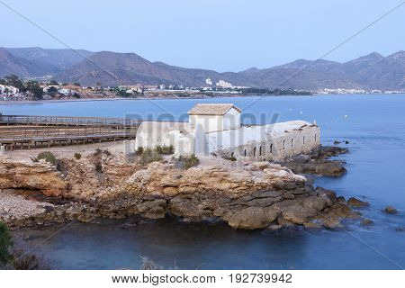 Historic Marrana Baths at the mediterranean coast in Isla Plana. Mazarron Region of Murcia Spain