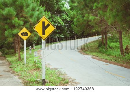Up Hill Road Way Forest Mountain With Traffice Sign, Ascend The Hill Asphalt Vintage Color Tone.