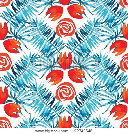 Vector abstract watercolor pattern with palm leaves and roses. Seamless pattern with tropical plants. Hawaiian exotic print for swimwear. Aloha tahiti background.