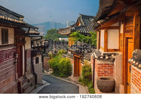 Seoul. Traditional Korean style architecture at Bukchon Hanok Village in Seoul, South Korea.