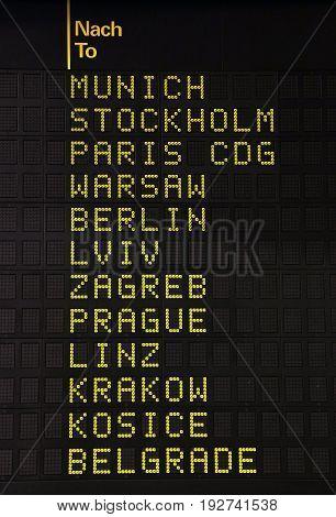 Flight Information Panel At Airport