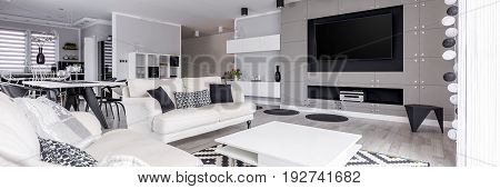 Elegant black and white relax zone with home cinema system