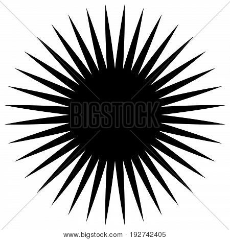 Circular Geometric Element Of Radial Spokes, Lines. Abstract Black And White Illustration. Geometric