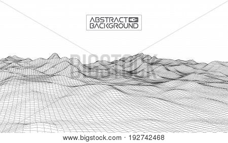 Abstract vector wireframe landscape background. Cyberspace grid. 3d technology wireframe vector illustration. Digital wireframe landscape .