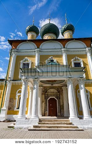 UGLICH RUSSIA - JUNE 17 2017: Exterior of the Savior's Transfiguration Cathedral. The architectural monument was founded in 1710