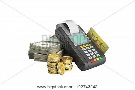 Card Terminal On Stacks Of Dollar Bills With A Bank Card Inside 3D Illustration On White Background