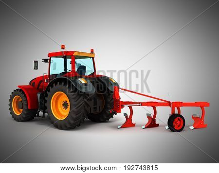 Tractor Plowing Red 3D Render On Gray Background