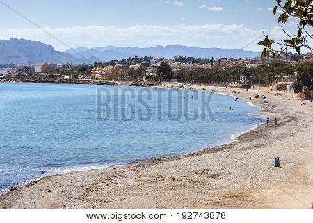 Beach in Mediterranean town Isla Plana. Region of Murcia southern Spain