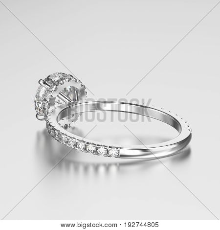 3D illustration white gold or silver ring with diamonds back view with reflection on a grey background