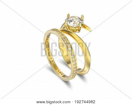 3D illustration isolated yellow gold matching band set rings with diamonds with shadow on a white background
