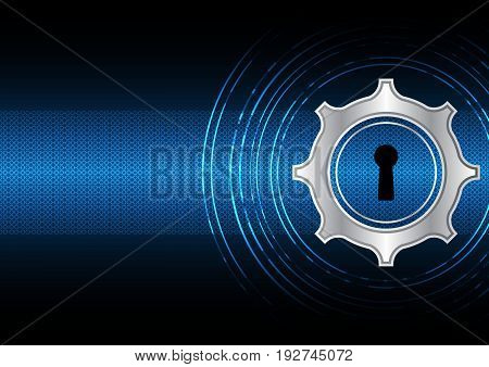 technology digital future abstract cyber security concept background gear keyhole vector illustration.