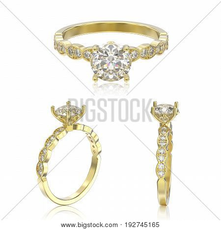 3D illustration three view of yellow gold ring with diamonds with reflection on a white background
