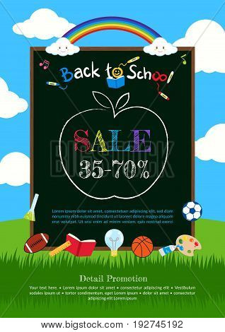 Welcome back to school poster banner or flyer for sales discount event vector illustration