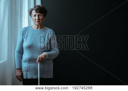 Blind Lady With A Stick