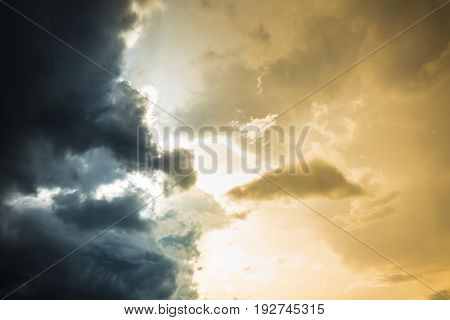 Two Colors Of Sky Day Light Sky Confront With Strom Cloudy Sky Nature Background.