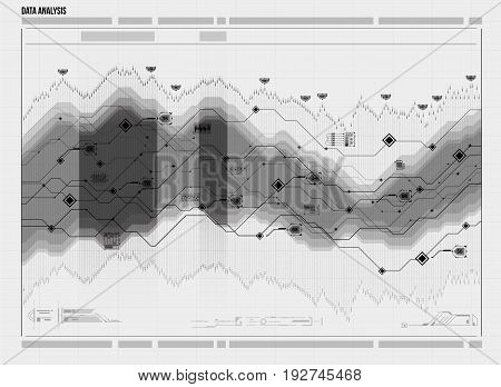 Data analysis visualization. Futuristic infographic. Information aesthetic design. Visual data complexity. Social network representation. Abstract data graph.