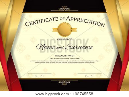 Luxury certificate template with elegant red and golden border frame on Thai background Diploma design for graduation or completion