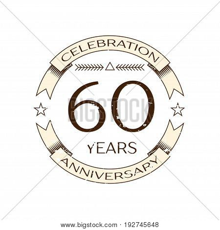 Realistic sixty years anniversary celebration logo with ring and ribbon on white background. Vector template for your design