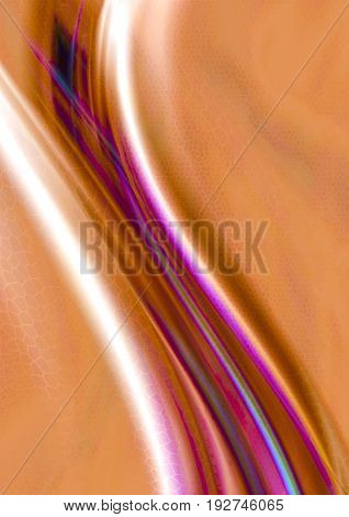 Abstract falling convex curved white and violet waves on orange background with textured mosaic cell