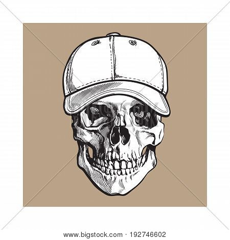 Hand drawn human skull wearing black and white unlabelled baseball cap, sketch vector illustration isolated on brown background. Realistic hand drawing of skull wearing baseball cap