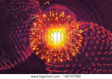 Nucleus Of Atom Molecule Structure With Radiation Light Nano Physics Science Illusttration Model Con