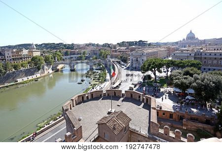 Rome, Italy. Bridge and Castel Sant'Angelo and the Tiber River. Built by Emperor Hadrian as a mausoleum in the monument of the ancient Roman Empire.