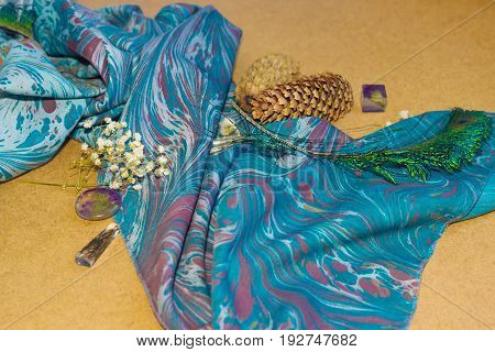 Ebru Cloth With Epoxy Resin Crystals And Dry Flowers Abd Peacock Feathers