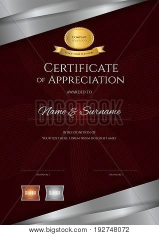 Portrait luxury certificate template with elegant red and silver border frame Diploma design for graduation or completion