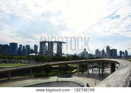 Singapore, MAY 28, 2017: Singapore View from Marina Barrage. It is the water-supply place of Singapore brings about 3 benefits: a new source of water supply, flood control and a lifestyle attraction.