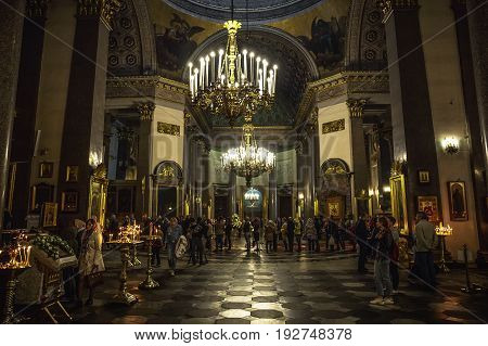 Saint Petersburg, RUSSIA - MAY 30, 2017: Interior of Kazan Cathedral with people. Kazan Cathedral is one of the largest churches in St. Petersburg