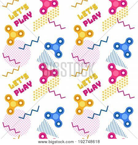 Fidget spinner seamless memphis pattern or background with colorful icons of modern rotating toys vector illustration