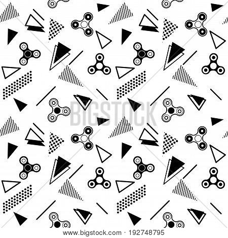Fidget spinner seamless memphis pattern or background with black icons of modern rotating toys vector illustration