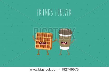 Breakfast. Funny characters coffee, croissant, donut. Best friends set. Vector illustration