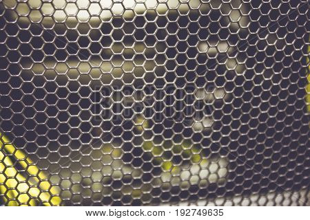 Lattice of equipment in the server room in data center, technology background, toned
