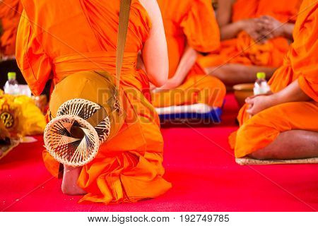 The Ordination Ceremony of the Buddhist Monks. Thai during a Buddhist ordination ceremony.