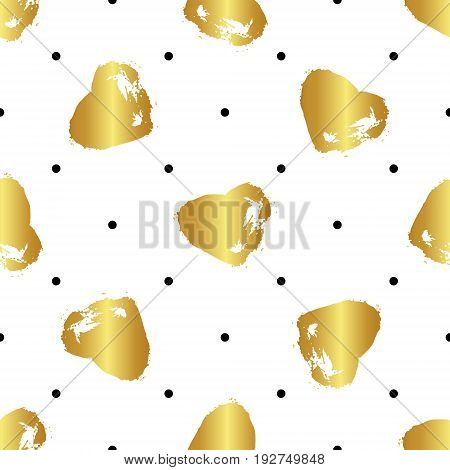 Vector colorful seamless pattern with brush strokes and dots. Gold gradient color on white background. Hand painted grange texture. Ink geometric elements. Fashion modern style. Unusual teen
