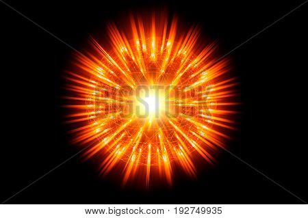 Nucleus Of Atom Nuclear Explode Atomic Bomb Red Hot Ray Radiation Light Science Illusttration Concep