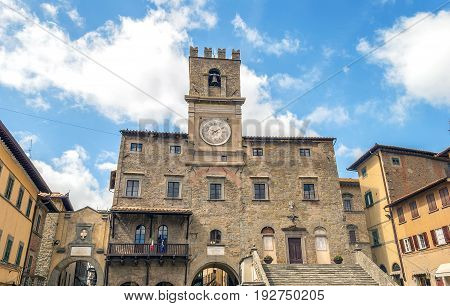 view of the town hall in the medieval city of Cortona Tuscan Italy