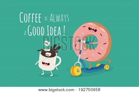 Cartoon comic coffee cup and donut. Take coffee and donut with you. Vector cartoon illustration. Coffee to go.