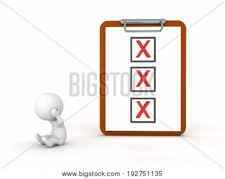 3D Character Depressed Next To A Clipboard With  Three Red X Marks
