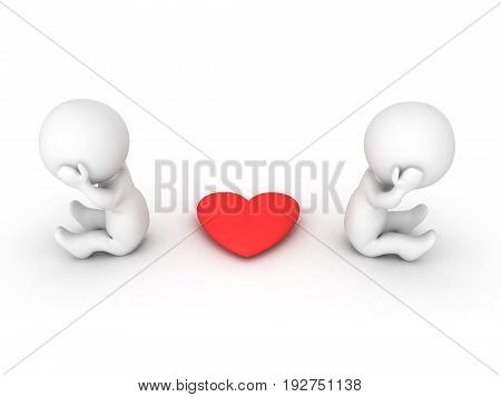 3D illustration of couple not communicating. Isolated on white.