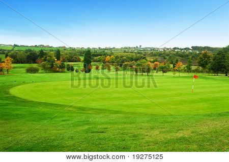 Beautiful landscape with green golf field