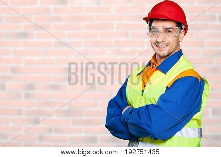 Young man hat hard foreman yellow white