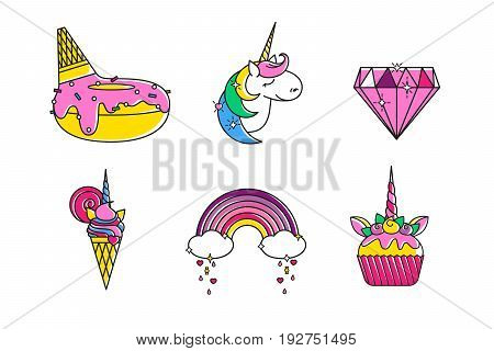 Yummy donut with delicious glaze topping, outline fairy unicorn, precious line diamond, stars, ice cream with lollipop, rainbow candy rain, mint cream muffin cupcake