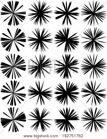 Geometric Circle Element Of Radial Lines. Bursting Lines Merging At Center. Abstract Generic Motif,