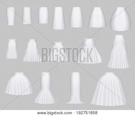 Vector illustration of different model skirt design isolated on transparent background. White blank realistic 3d skirt mock up set. Fashion casual cloth design