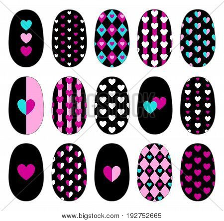 Nail art heart templates. Manicure design set. Can be used for tips and stickers. Isolated on white. EPS 10.