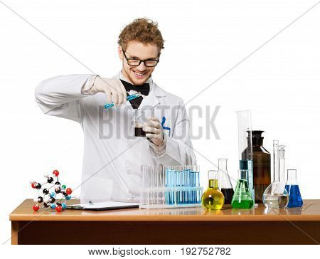 Liquid man scientist on white lab coat high glass